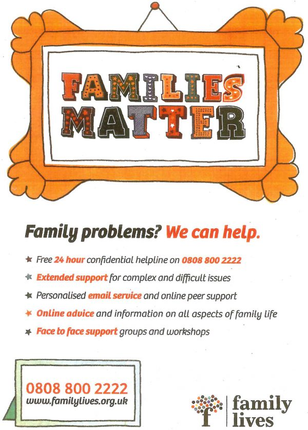 Family Problems flyer. 24 hours Contact 0808 800 2222 or www.familylives.org.uk