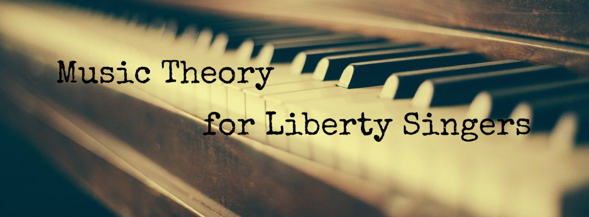 Piano keyboard with text saying music theory for liberty singers