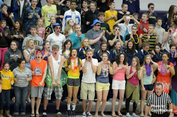 Notre Dame fans support their boys' basketball team as they play against Mediapolis in the District 11 Final Tuesday night in Burlington.