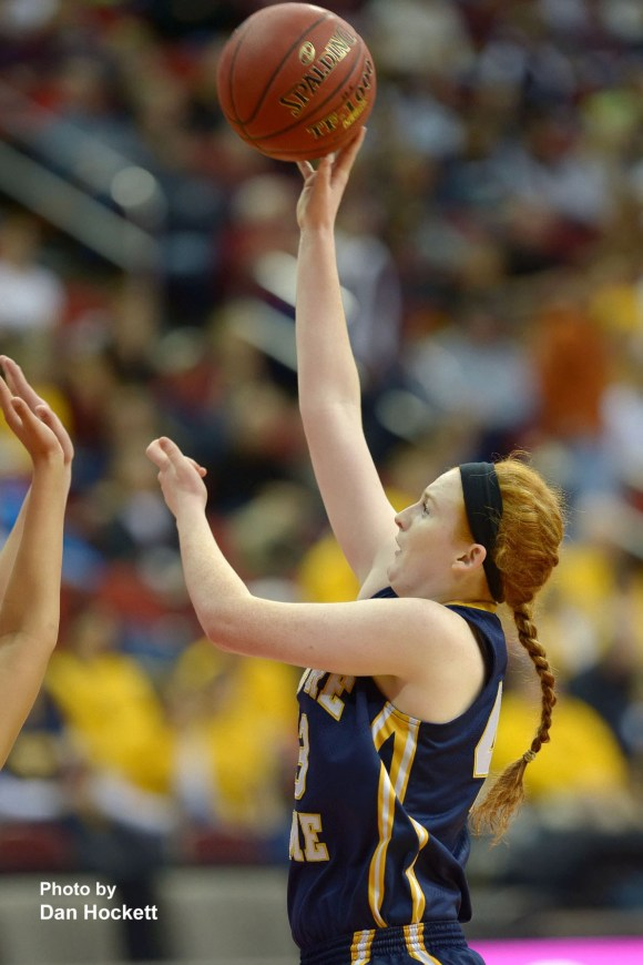 Photo by Dan Hockett Notre Dame's Emily Salvador goes to the basket against Top-Ranked Central Lyon in the Class 1A Semifinal Thursday morning at Wells Fargo Arena in Des Moines. Central Lyon defeated Notre Dame, 76-53.