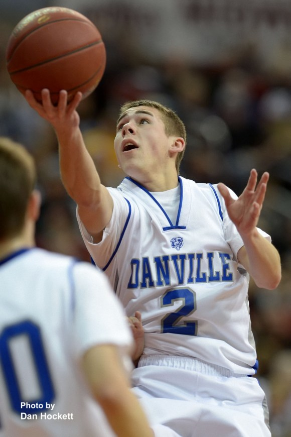 Photo by Dan Hockett Danville's Connor Hogberg shoots against St. Mary's in the Class 1A Semifinal at Wells Fargo Arena in Des Moines. Danville fell to St. Mary's, 61-55.