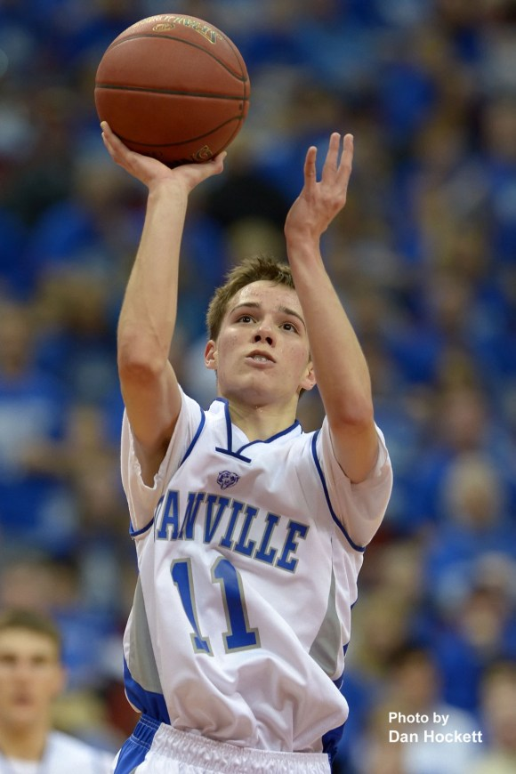 Photo by Dan Hockett Danville's Steven Soukup shoots against St. Mary's in Class 1A Semifinal at Wells Fargo Arena in Des Moines. Steven Soukup was the game's top scorer with 35-points. Danville fell to St. Mary's, 61-55.