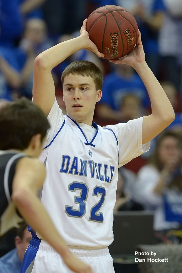 Photo by Dan Hockett Danville's Nathan DeSpain looks to pass against St. Mary's in the Class 1A Semifinal at Wells Fargo Arena in Des Moines. Danville fell to St. Mary's, 61-55.