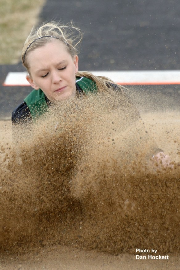"Photo by Dan Hockett West Burlington – Notre Dame's Raegen Olson takes the Class-B girls' long jump with a leap of 15'1"" at the West Burlington Coed Relays Saturday in West Burlington."