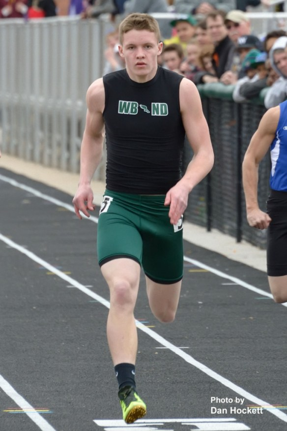 Photo by Dan Hockett West Burlington – Notre Dame's Daryl Van Ryke runs the 100-meter dash at the West Burlington Coed Relays Saturday in West Burlington. Van Ryke won the Class-B title in 11:21 seconds.