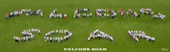 Composite Photo by Dan Hockett West Burlington High School and Junior High students form 'FALCONS SOAR' on the football field Wednesday May 22nd afternoon. SOAR stands for: Support each other Own your behavior Achieve your best Respect all