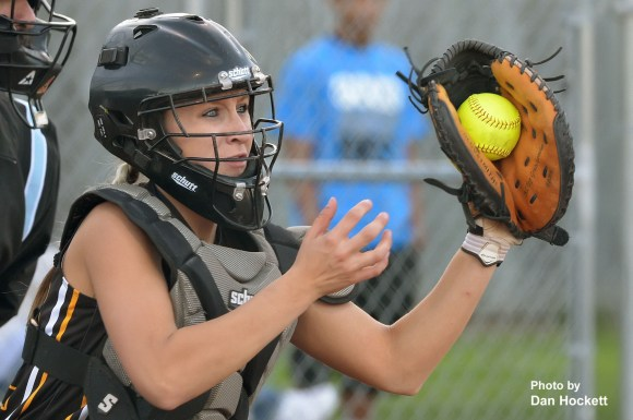 Photo by Dan Hockett New London Catcher, Sami Koontz, catches a pitch from Morgan Christner Monday night against West Burlington – Notre Dame at West Burlington. West Burlington – Notre Dame defeated New London, 9-1.