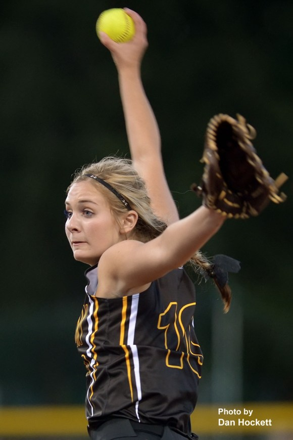 Photo by Dan Hockett New London Pitcher, Morgan Christner, winds up to send one across the plate against West Burlington – Notre Dame Monday night in West Burlington. West Burlington – Notre Dame defeated New London, 9-1.