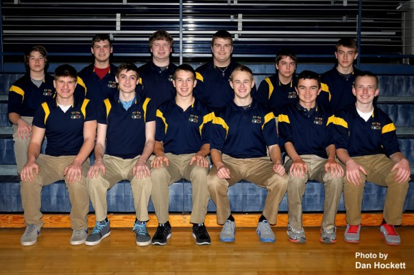 Photo by Dan Hockett Front row (l-r): Dalton Coffey, Cody Moehn, Tyson Abbott, Conner Tillo, Dylan Klossing, Grant Corzatt. Back row (l-r): Reese Garnjobst, Robbie Roberson, Kenny Reach, Riley Klements, Zach Jaeger, Jacob Dance.