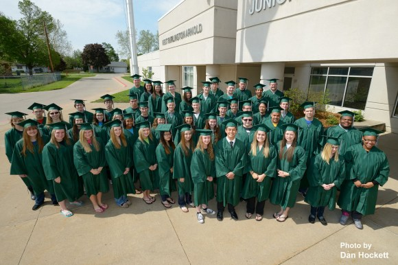 Photo by Dan Hockett West Burlington Arnold High School Graduation Class of 2014 poses in front of the High School Thursday. Graduation ceremony will take place Sunday, 3pm, in the High School gymnasium.