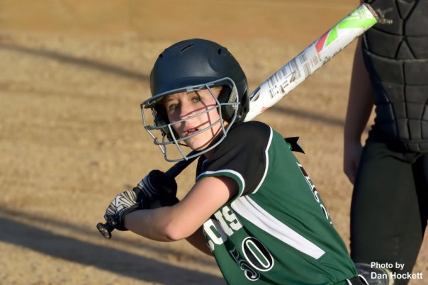 Photo by Dan Hockett West Burlington – Notre Dame's Richelle Weeks takes a practice swing before stepping back in box during the Region-7 Final in Ottumwa Monday night. West Burlington – Notre Dame defeated PCM, 6-4.
