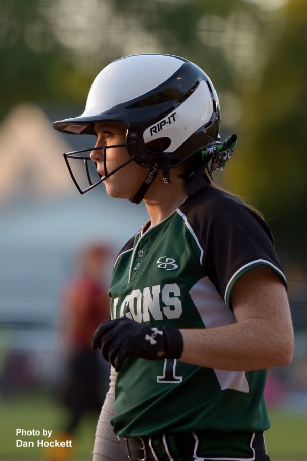 Photo by Dan Hockett West Burlington – Notre Dame's Riley Hale studies the pitches while on-deck waiting her turn at bat against PCM during the Region-7 Final in Ottumwa Monday night. West Burlington – Notre Dame defeated PCM, 6-4.