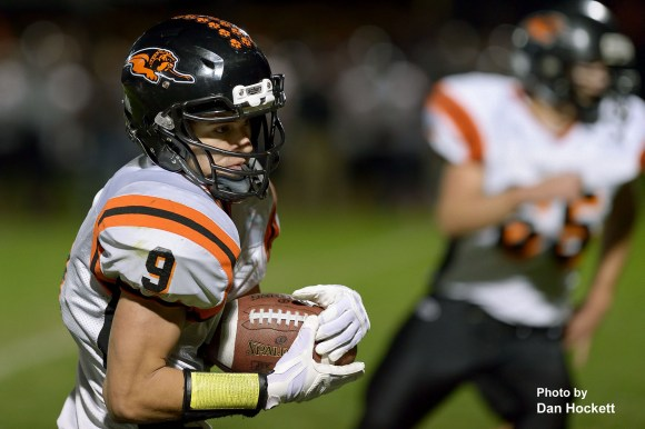 Photo by Dan Hockett Mediapolis Quarterback Arthur Brown carries the ball down the right side against West Burlington / Notre Dame Friday night in West Burlington. Mediapolis defeated WBND, 38-33.