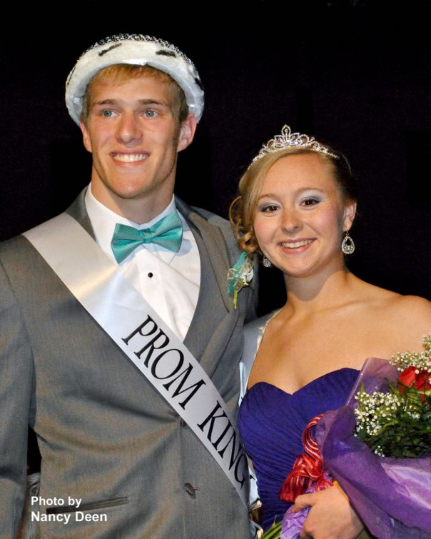 Photo by Nancy Deen Seniors Grant Riley and Stephanie Wills are crowned West Burlington Prom King and Queen Saturday evening in West Burlington.