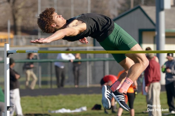 "Photo by Dan Hockett West Burlington – Notre Dame's Xavior Williams wins the high jump at 6'5"" at the Falcon Relays in West Burlington Monday."