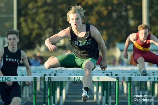 Photo by Dan Hockett Defending State Champ West Burlington – Notre Dame's Jacob Smith wins the 110-meter hurdles in 54.35 seconds at the Falcon Relays in West Burlington Monday.