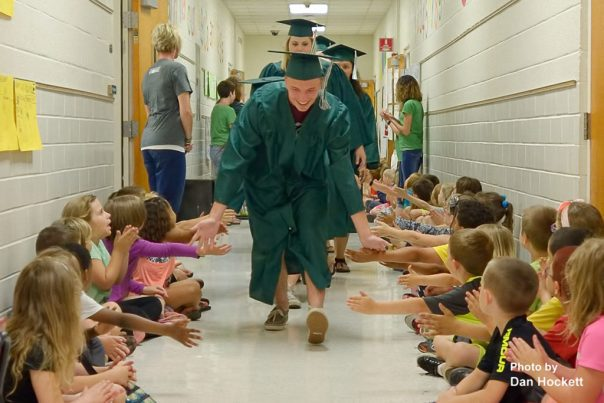 Photo by Dan Hockett West Burlington Class of 2016 participates in the parade of graduates by elementary school students Friday morning in West Burlington.