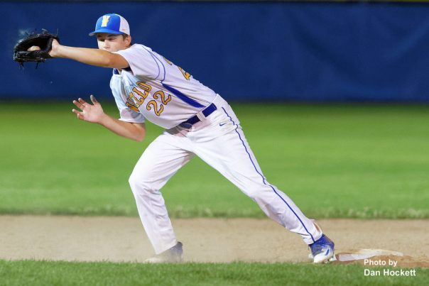 Photo by Dan Hockett Wapello Shortstop Sam Short gets the force out at second against West Burlington in the Class 2A District-10 quarterfinal Saturday night in Wapello. Wapello defeated West Burlington, 2-0.