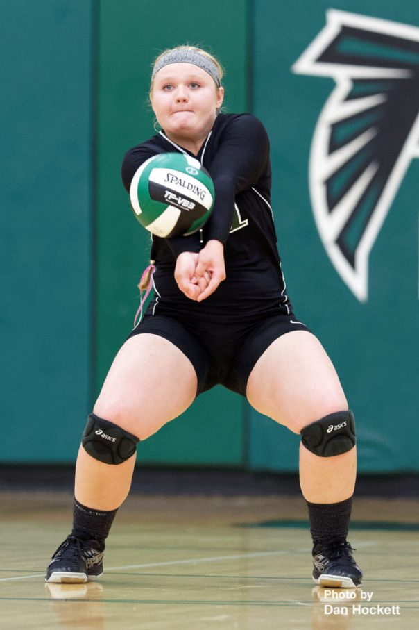 Photo by Dan Hockett West Burlington's Cassie Powers bumps the ball in to play against Danville Tuesday night in West Burlington. West Burlington defeated Danville, 25-22, 23-25, 25-23, 25-19.