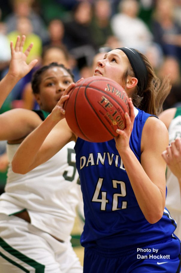Photo by Dan Hockett Danville's Lauren Finke (42) looks to the basket against West Burlington Friday night in West Burlington. Danville defeated West Burlington, 46-33.