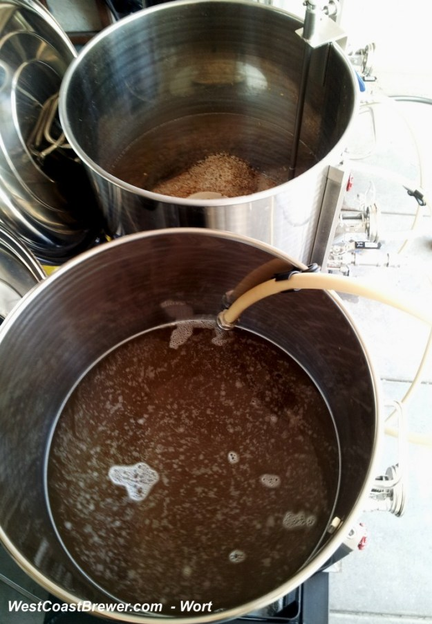 Wort (Unfermented Beer) Being Transferred after sparging