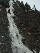 Adrian Burke (me!) leading Snowline in Evan Thomas Recreational Area, Kananaskis, Alberta