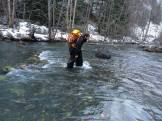 Fording the Bridge River, using the old garbage bag waders trick. (Don Montrichard)