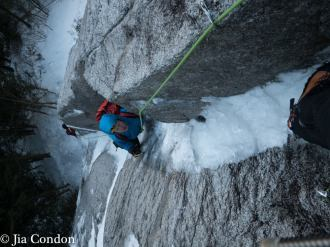 Jason Kruk following pitch 1 of UUE, to the bolted UE belay (Jia Condon)