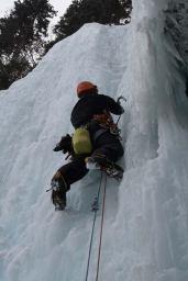 Henrik climbing the final WI4 pitch. (Hunter Lee)