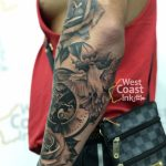 Half Sleeve with Dove bird and rose