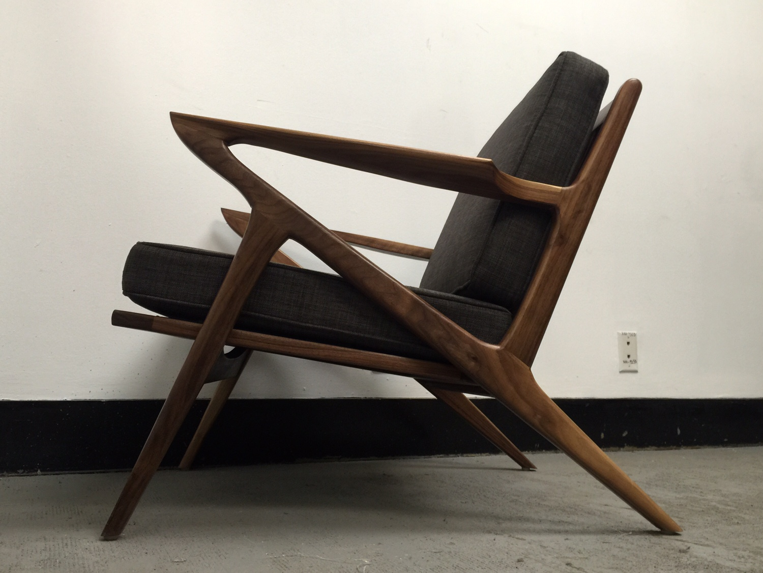 z chair mid century cover qld walnut west coast modern la