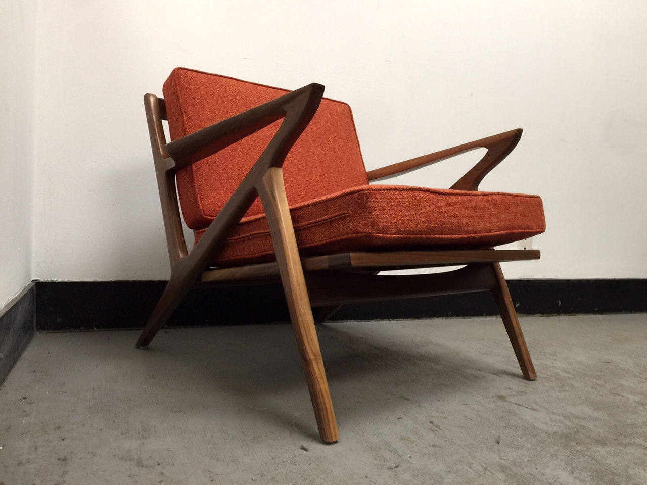 z chair mid century office with footrest walnut lounge west coast modern la