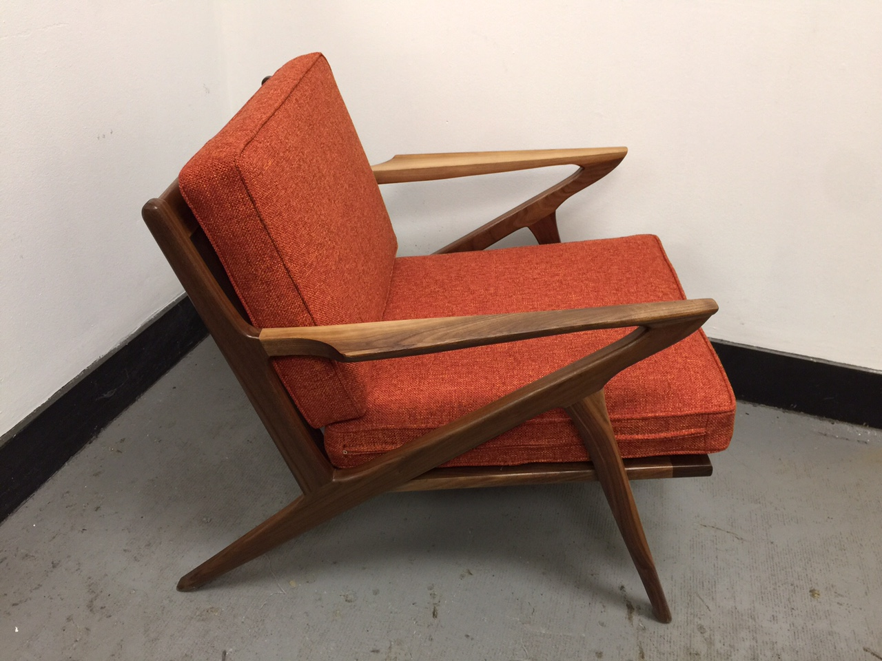 z chair mid century childrens wicker rocking walnut lounge west coast modern la