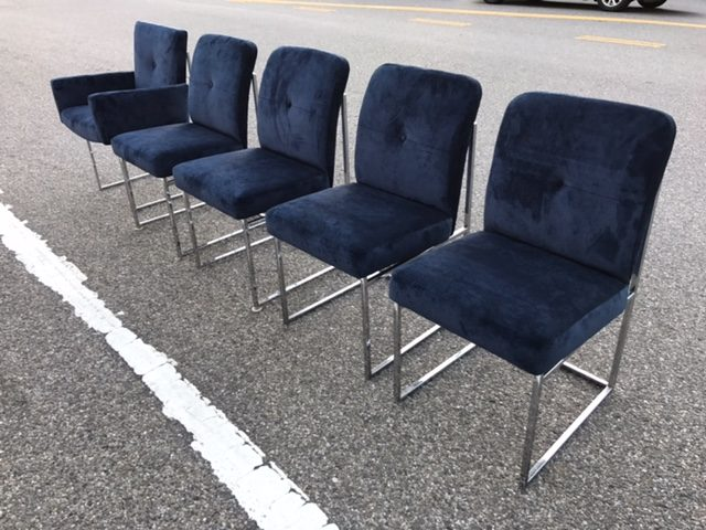 5 Milo Baughman Navy Blue Velvet Dining Chairs  West