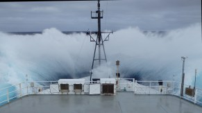 Incredible photo off the bow of our boat in rough seas. Photo credit: Jonathan Sharp
