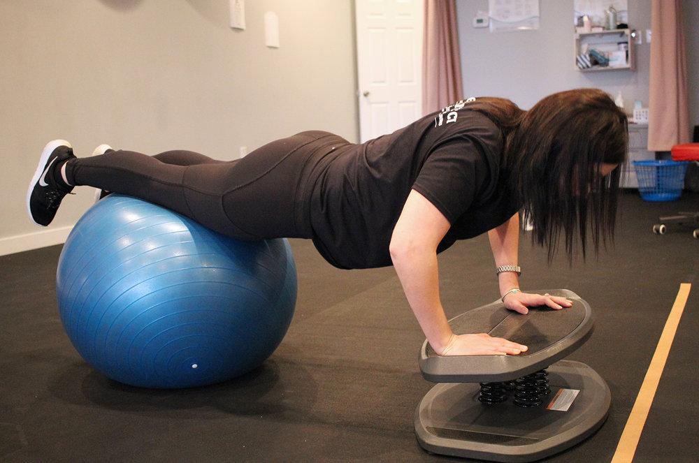 Push Ups on Balance Board and Ball