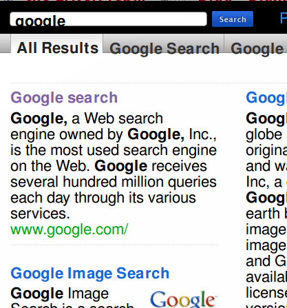"The first result for a search of ""google"" on Cuil. Nothing Cuil is doing is going to require a rewrite of this entry anytime soon..."