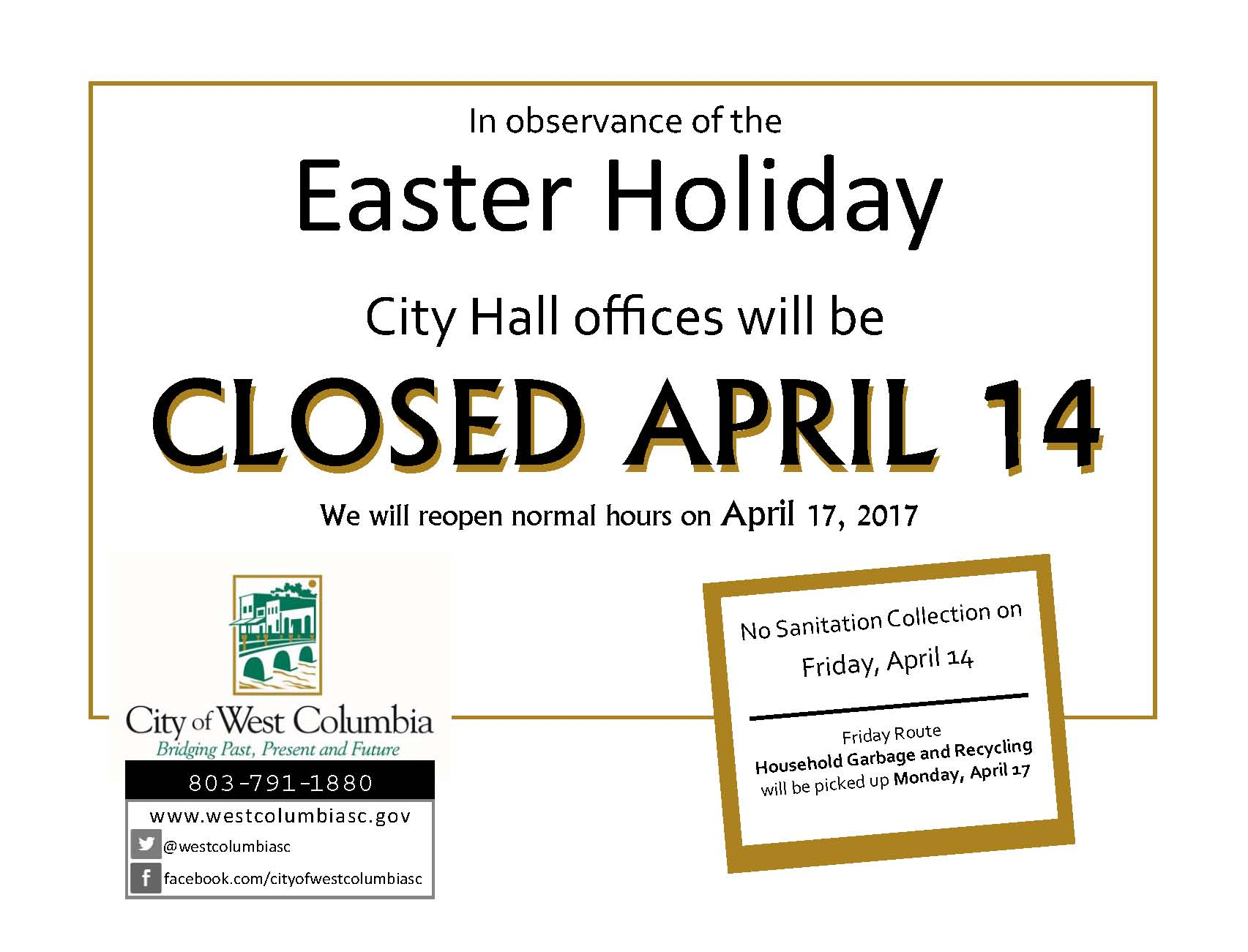 west columbia city hall and sanitation information for the