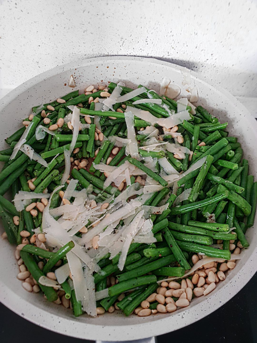 French Beans with parmesan and pine nuts