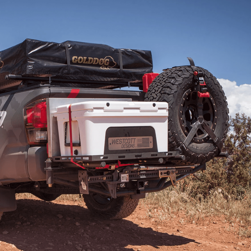 universal hitch mount tire rack with cooler work table