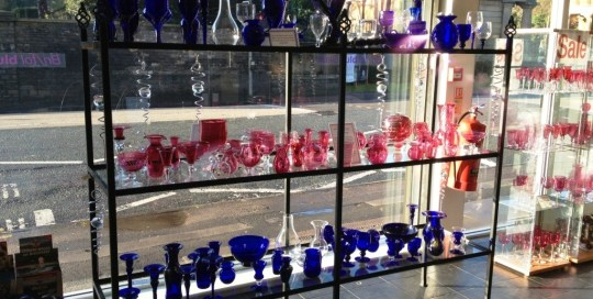 Display shelves at Bristol Blue Glass by West Country Blacksmiths