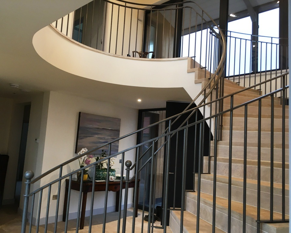 Bespoke metal spiral balustrade by Wet Country Blacksmiths