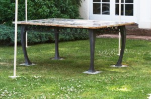 Galvanised and antique acid etched table base designed and made by West Country Blacksmiths