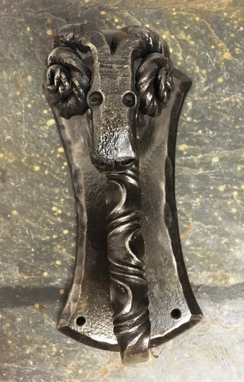 Rams head door knocker by West Country Blacksmiths