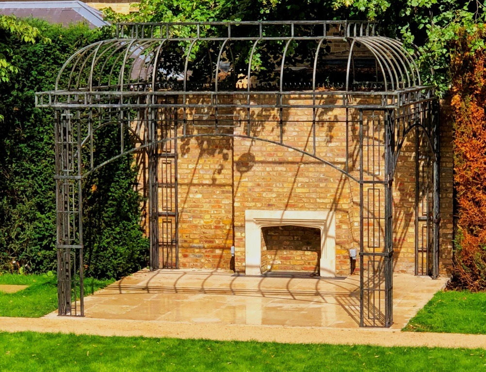 Pictures of a pavilion made by West Country Blacksmiths working in partnership with Paul Dennis Metalwork.