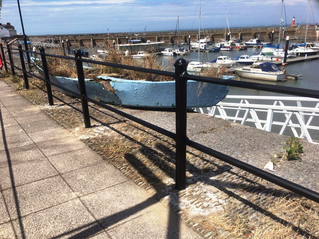 Watchet harbour railing following restoration by West Country Blacksmiths
