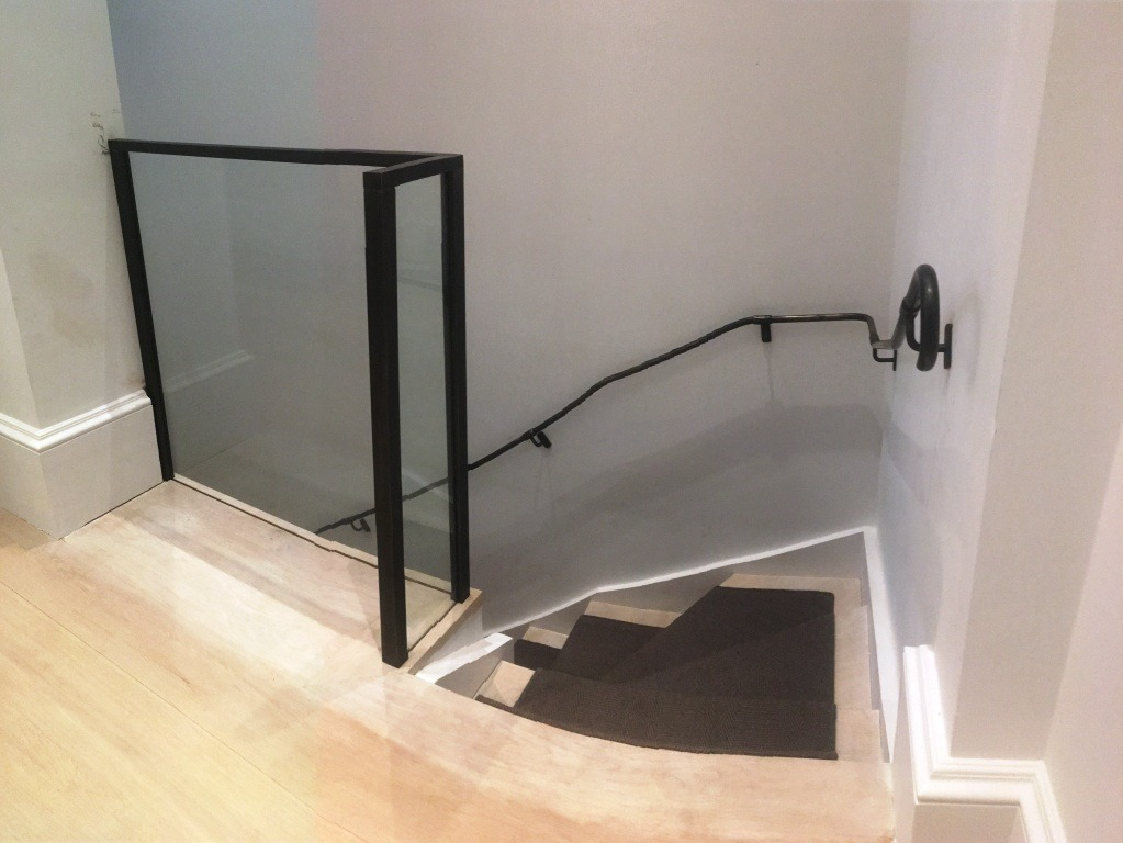 Oil rubber bronze and glass balustrade and handrails