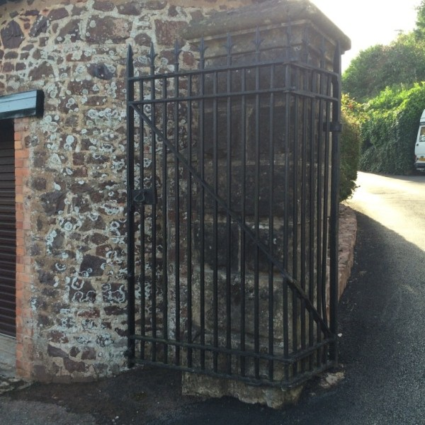 Grade two listed pivoting gate before restored by West Country Blacksmiths