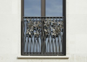Chelsea Barrack Townhouse Balustrades With Decorative Stainless Steel Flowers Handcrafted By West Country Blacksmiths.