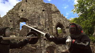 Image: Sword and Buckler at Okehampton Castle 19 May 2019